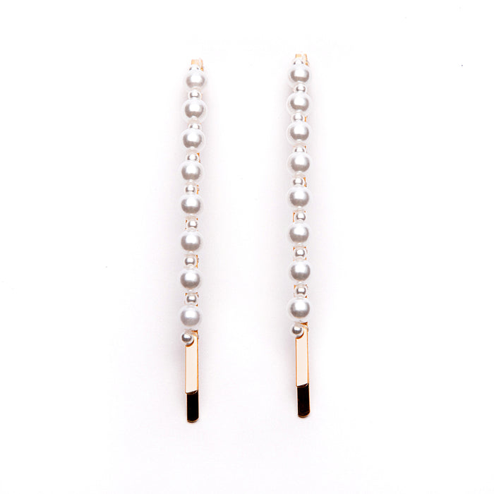 Pack of 2  Curved Hair Clips With Mixed Scales Pearl In Gold Tone