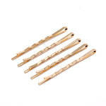 Pack of 5 Thin Hair Grips In Gold Tone