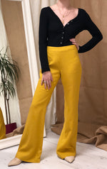 Yellow Linen Flared Trousers