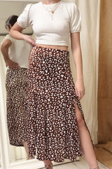Abstract Leopard Print Midi Skirt With Split
