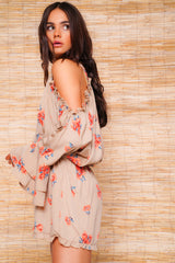 Nude Floral Cold Shoulder Playsuit