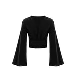 Luxe Satin Black Flare Sleeve Wrap Top