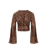 Luxe Satin Leoprard Flare Sleeve Wrap Top