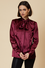 Wine Satin Pussybow Shirt