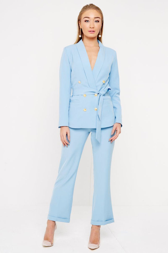 LIGHT BLUE BELTED BLAZER