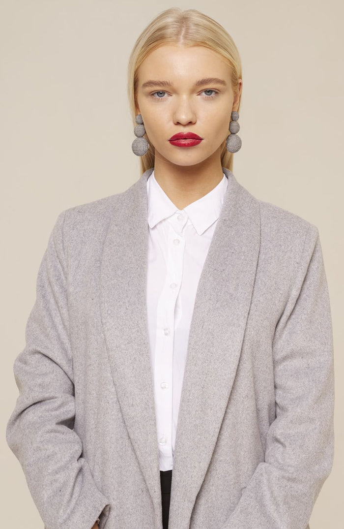 LIGHT GREY WRAP COAT
