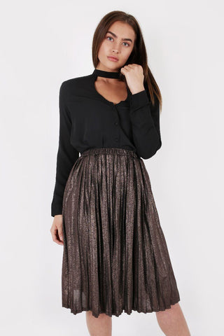 METALLIC GOLD PLEATED SKIRT