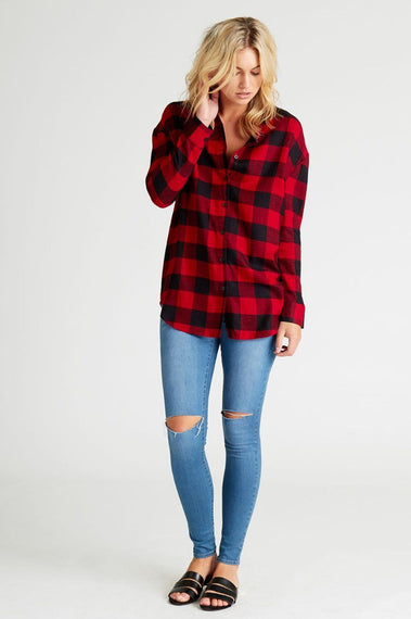 PIA RED & BLACK CHECK BOYFRIEND SHIRT