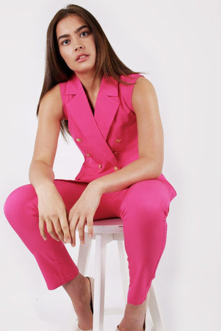 HOT PINK SLEEVELESS DOUBLE BREASTED BLAZER