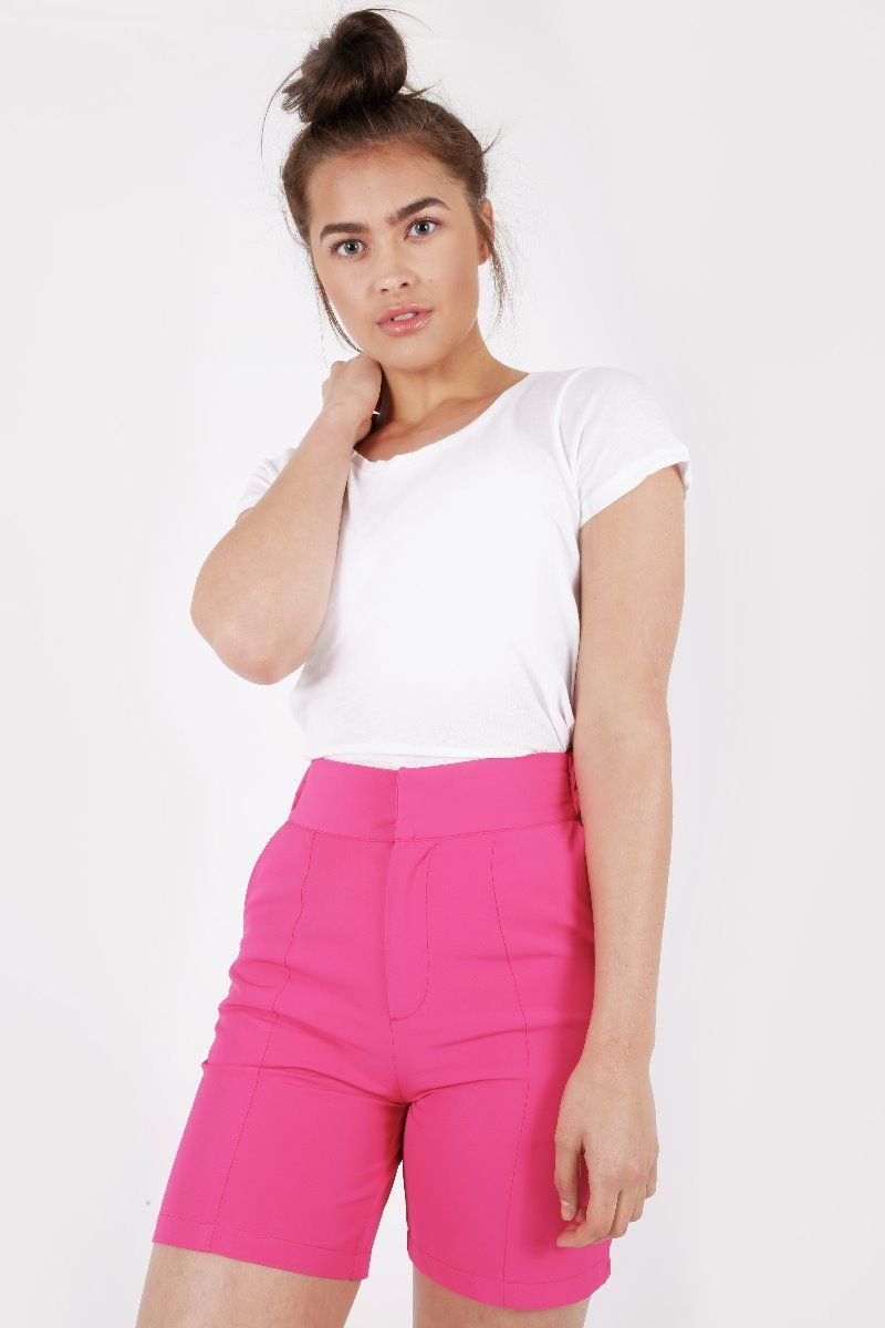 HOT PINK HIGH WAIST TAILORED SHORTS
