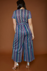 UNIQUE21 HERO Striped Glittery Wrap Over Jumpsuit