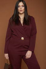 UNIQUE21 HERO Burgundy Tailored Jumpsuit with Gold Buckle