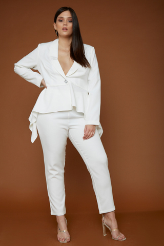 UNIQUE21 HERO White Frill Hem Blazer