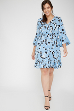UNIQUE21 HERO Blue Floral Print Smock Dress