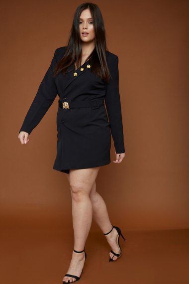 53036387db7 UNIQUE21 HERO Tailored Blazer Dress With Gold Buckle And Buttons