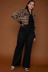 UNIQUE21 HERO Leopard Contrast Pussy Bow Blouse