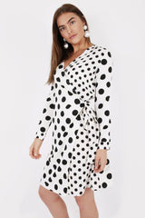 WHITE POLKA WRAP DRESS