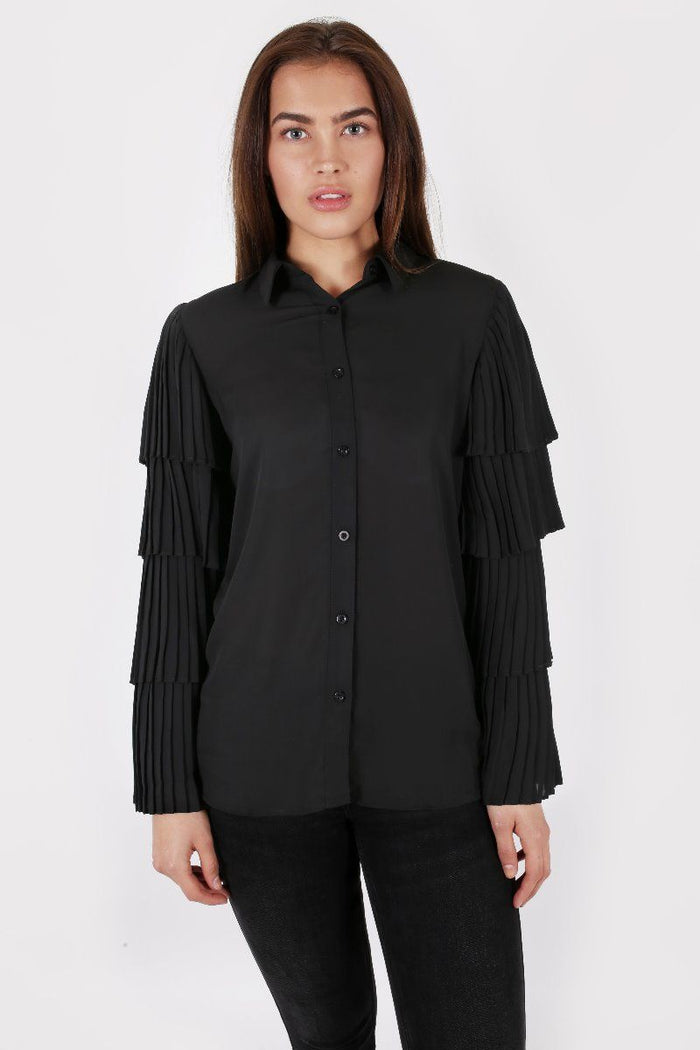 SHEER BLACK BLOUSE WITH LAYERED RUFFLE SLEEVES