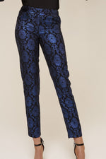 blue jacquard trouser close view