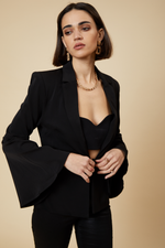 Luxe Tie-front Flared Sleeve Blazer
