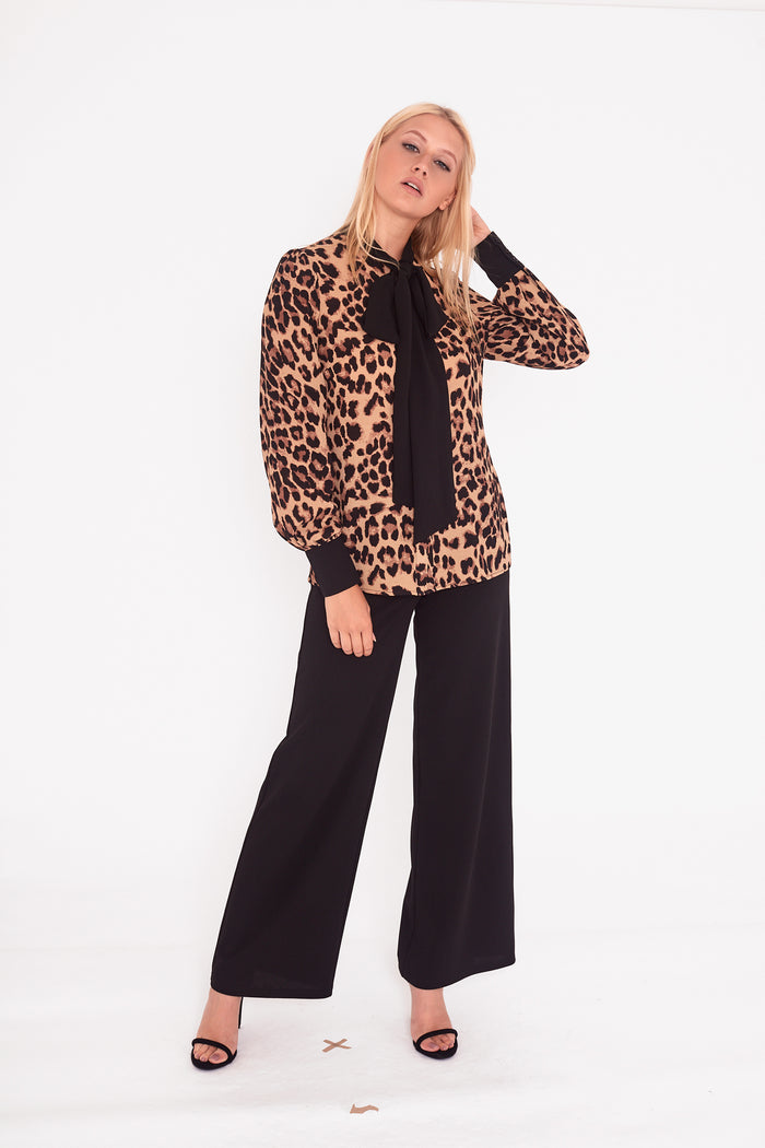 Leopard Contrast Pussy bow Blouse