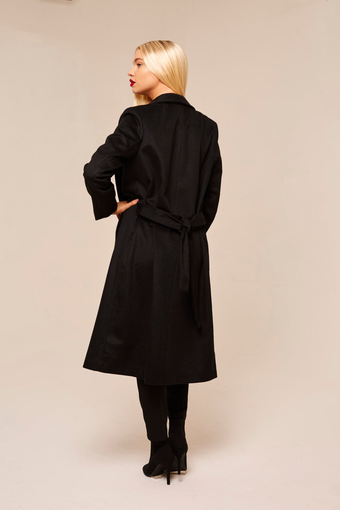 Black Longline Wrap Coat