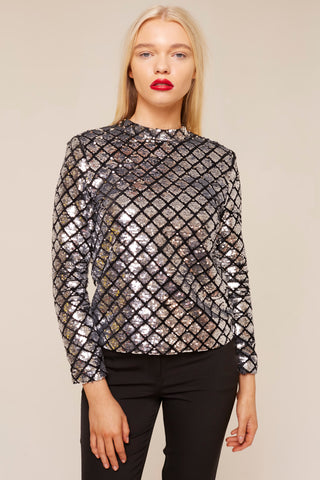 Silver Sequin Backless Top