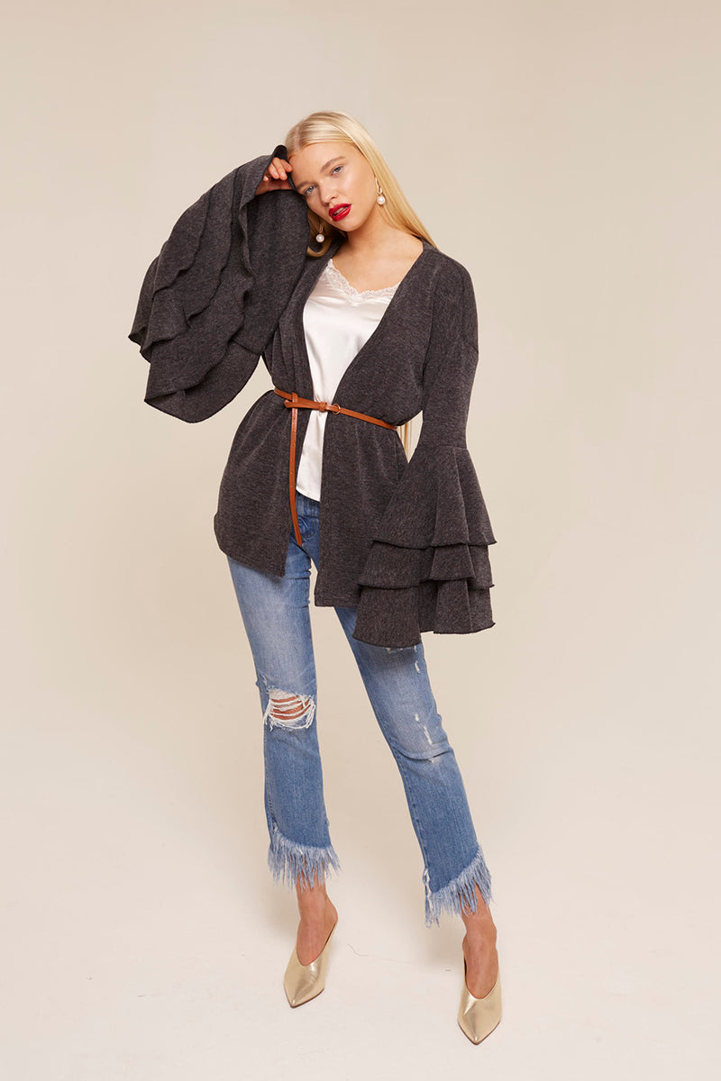 Model Against Plain Background Wearing Bell Sleeve Cardigan Front Image
