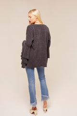 Model Against Plain Background Wearing Bell Sleeve Cardigan Back Image