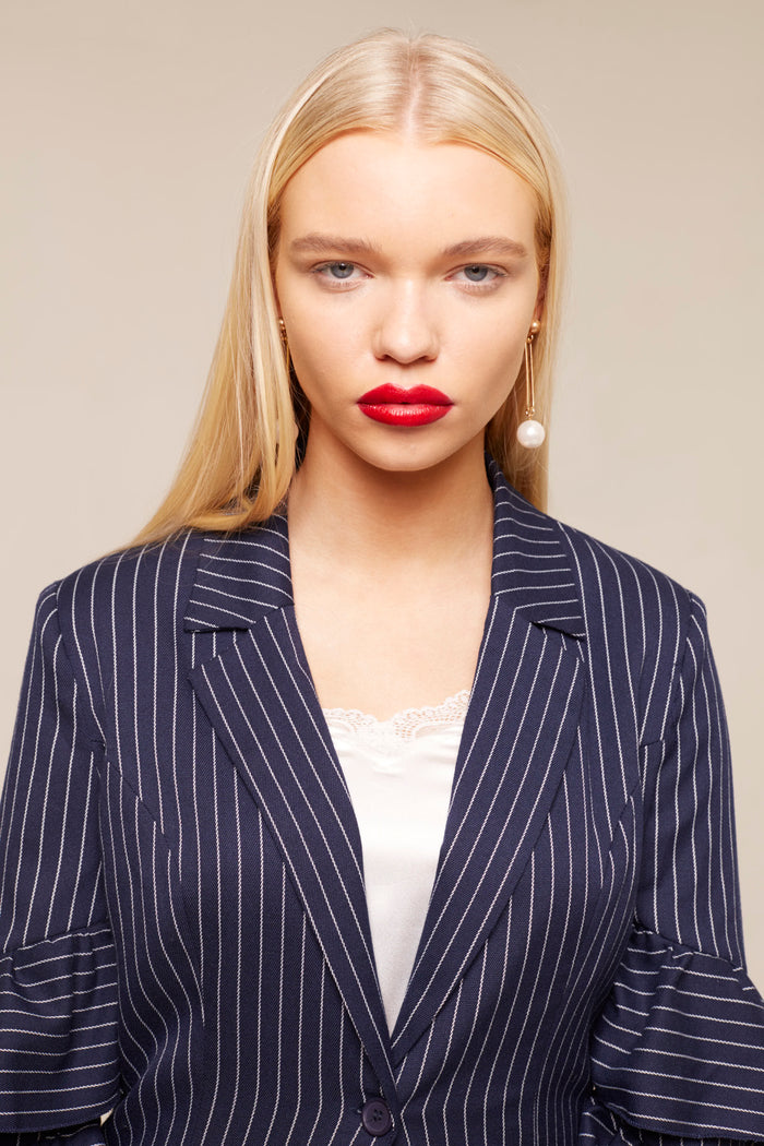 Pinstripe Ruffle Sleeve Tailored Blazer