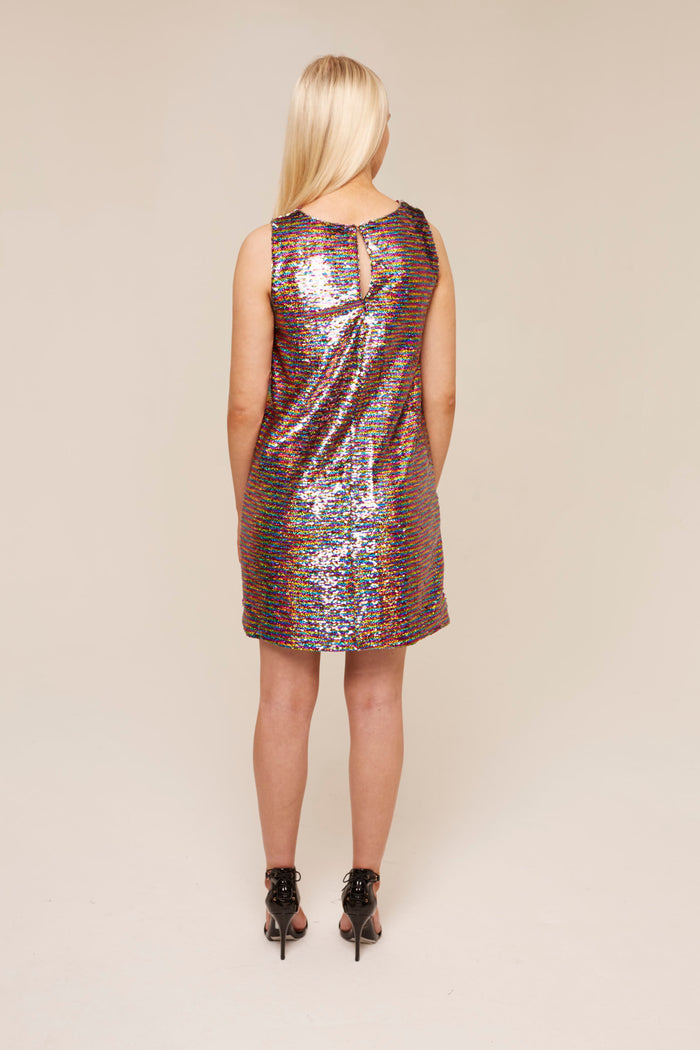 Multi-coloured Sequin Shift Dress