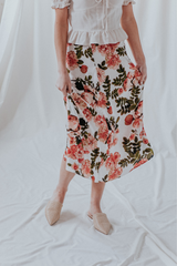 Floral Midi Slip Skirt With Side Slits