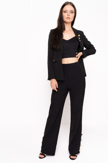 Wide Leg Trouser With Gold Button Detail