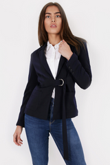 Navy Blazer With Ring Belt