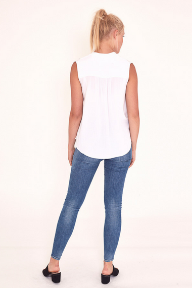 Gemma Draped Blouse in White