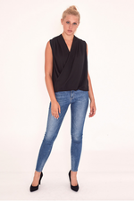 Gemma Draped Blouse in Black