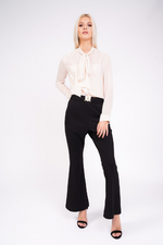 black high waisted trousers full front view