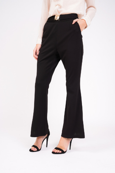 Black High Waist Trousers With Gold Buckle