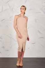 Utility Style Midi Dress in Tan