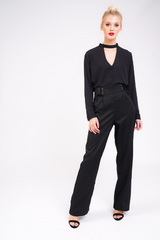black high waisted lace up trouser full view