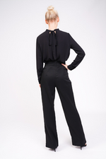 black high waisted lace up trouser rear view