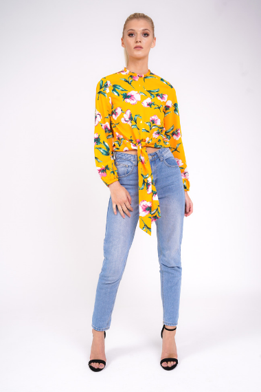 Floral Long Sleeve Tie Blouse