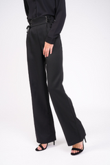 black high waisted lace up trouser leg view
