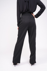 black high waisted lace up trouser close up