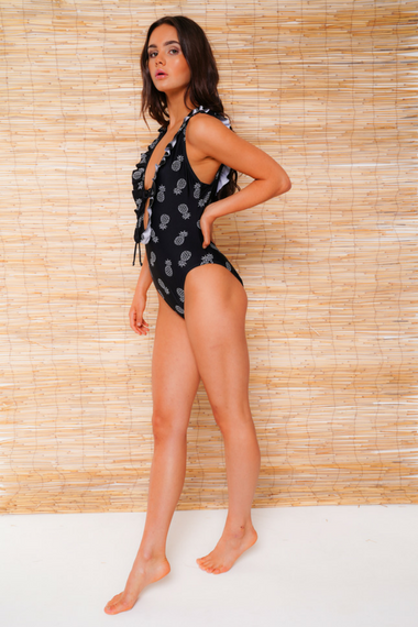 black pineapple swimsuit side view