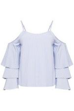 OFF THE SHOULDER PIN STRIPE TOP