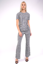 Tailored Check High Rise Trouser