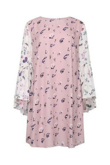 PINK FLORAL DRESS WITH WIDE RUFFLE SLEEVES