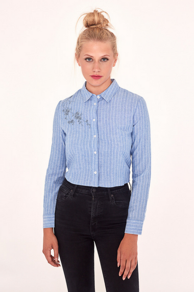 Pinstriped Shirt With Embroidery