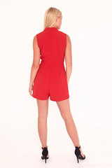 Red Tailored Sleeveless Playsuit